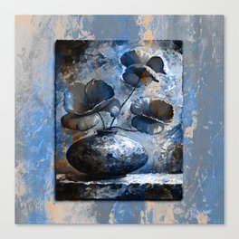 Poppies style blue peach Canvas Print