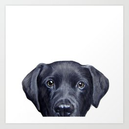 Labrador with white background Dog illustration original painting print Art Print