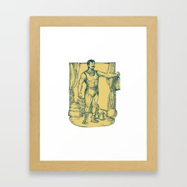 Strongman Lifting Weight Drawing  Framed Art Print