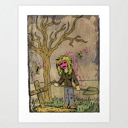 Little Grave Digger Girl Art Print