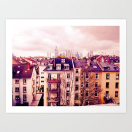 Frankfurt Germany Cityscape View Over the Rooftops  Art Print
