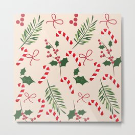 Peppermint Winter Holiday Candy Cane  Metal Print