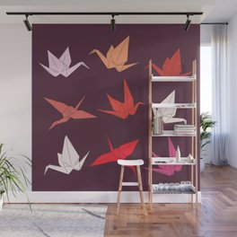Japanese Origami paper cranes sketch, symbol of happiness, luck and longevity Wall Mural