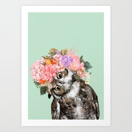Owl with Flowers Crown in Green Art Print