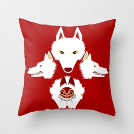 Mononoke and the wolves Throw Pillow