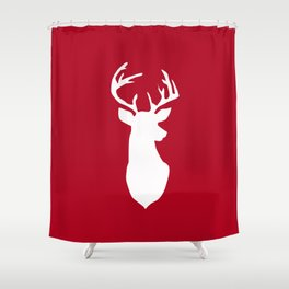Deer head. White and red. Shower Curtain