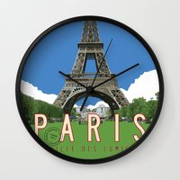 travel poster Wall Clocks featuring Paris 2 Travel Poster by Michael Jon Watt