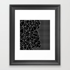 Abstract Grid Outline White on Black on Side Framed Art Print