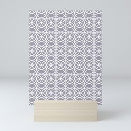 Pantone Lilac Gray and White Rings Circle Heaven 2, Overlapping Ring Design - Digital Artwork Mini Art Print