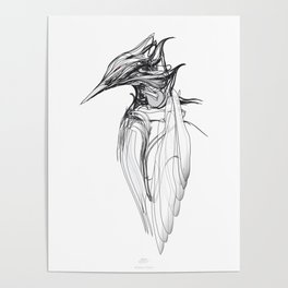 Kingfisher-1a. Black on white background-(Red eyes series) Poster