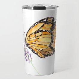 Monarch Butterfly Watercolor Art, Orange Butterfly Painting, Purple Flower Travel Mug