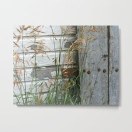 Weathered Wood and Weeds Metal Print