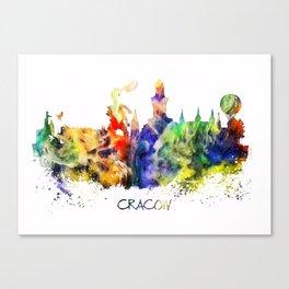Cracow skyline color Canvas Print