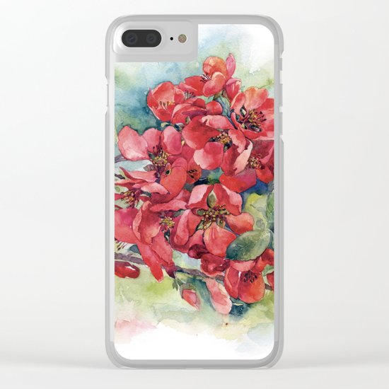 Watercolor Apple quince bloom Clear iPhone Case