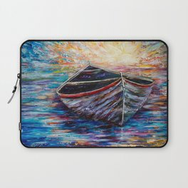 Wooden Boat at Sunrise Laptop Sleeve