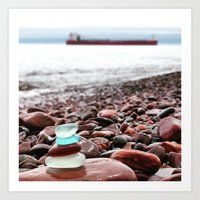Beach Glass Cairn with a Big Boat Art Print