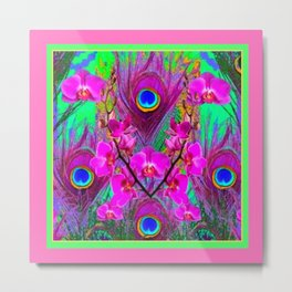 Pink Blue Green Peacock Feathers Lavender Orchid Patterns Art Metal Print