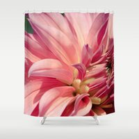 dahlia Shower Curtains featuring Dahlia  by A Wandering Soul