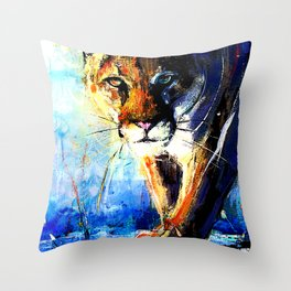 portrait of a creepin' cougar, in orange and blue Throw Pillow