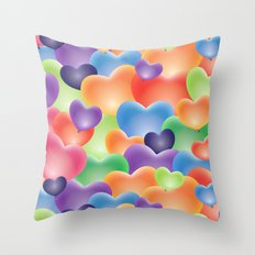 Valentine Balloon Hearts Throw Pillow