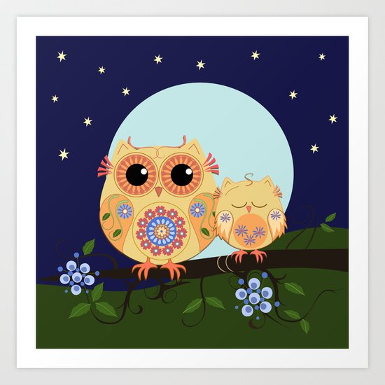 Colourful Flower power owl with her sleepy baby on branch Art Print