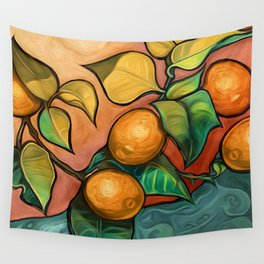Coral Sunset over Lemon tree Wall Tapestry
