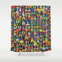 justice league Shower Curtains featuring Action Figure Grid: Justice League Unlimited by CantinaDanny