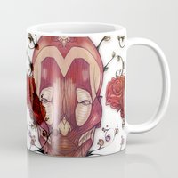 in the flesh Mugs featuring Flesh&Roses by AP Illustration