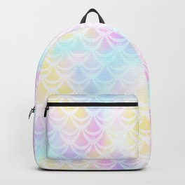 Pale Pink Mermaid Tail Abstraction. Pastel Magic Fish Scale Pattern Backpack