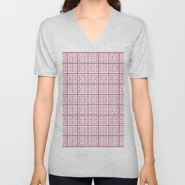 Puce Pink Greek Key Pattern Unisex V-Neck