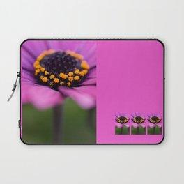 Pink flower, yellow black heart Laptop Sleeve