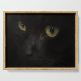 Black cat with yellow eyes Serving Tray