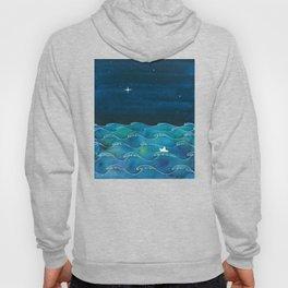 Night big ocean waves Hoody