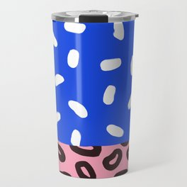 Blue, Pink and Leopard Abstract Print Travel Mug
