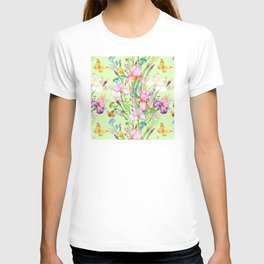 Pastel Pink & Lilac Iris Floral Pattern With Butterflies T-shirt