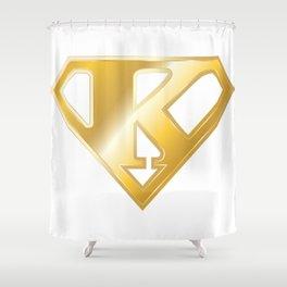 Gold Super K Logo Shower Curtain