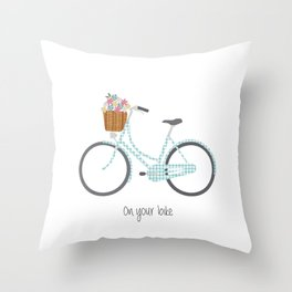 Pedal Power in blue Throw Pillow