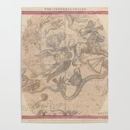 Burritt - Huntington Map of the Constellations or Stars in April, May and June (1856) Poster
