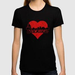 Retro Jackson Mississippi Skyline Heart T-shirt