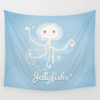 jellyfish Wall Tapestries featuring Jellyfish by Jane Mathieu