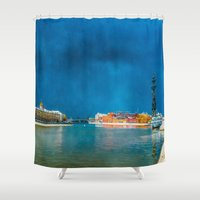 moscow Shower Curtains featuring Snow Showers Over Moscow by digital2real