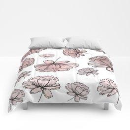 Hand Drawn Peonies Dusty Rose Comforters