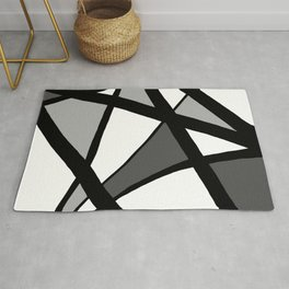 Geometric Line Abstract - Black Gray White Rug