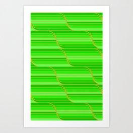 Geo Stripes - Green Art Print