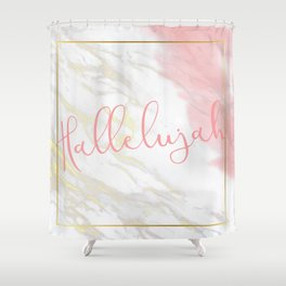 Hallelujah Pink Watercolour & Gold Marble Shower Curtain