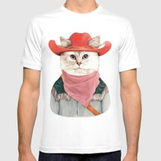 Rodeo Cat MEDIUM White Mens Fitted Tee