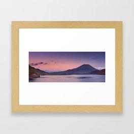 II - Last light on Mount Fuji and Lake Motosu, Japan Framed Art Print