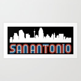 Red White Blue San Antonio Texas Skyline Art Print