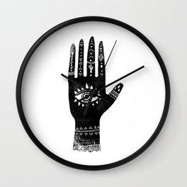 Hand with eye linocut black and white minimal boho third eye hamsa Wall Clock