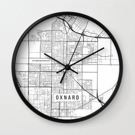 Oxnard Map, USA - Black and White Wall Clock